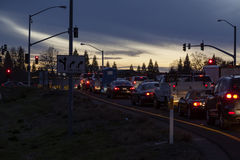 Line Of Cars Stopped Freeway Offramp Twilight Royalty Free Stock Photography