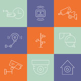 Line CCTV Symbols Stock Image