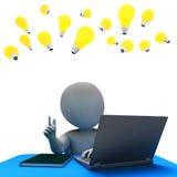 On-line-Charakter stellt World Wide Web und Wiedergabe des Computer-3d dar Stockfoto