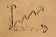 Line chart drawn in sand Stock Image