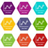 Line chart icons set 9 vector. Line chart icons 9 set coloful isolated on white for web Royalty Free Stock Image