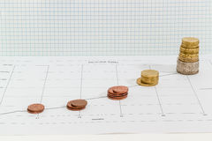 Line chart with stacked coins against background of squared pape Royalty Free Stock Images