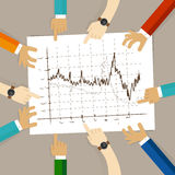 Line chart team work on paper looking to graph business concept of planning hands pointing collaboration group in office. Vector Stock Photos