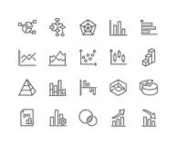 Line Charts and Diagrams Icons. Simple Set of Charts and Diagrams Related Vector Line Icons. Contains such Icons as Dot Plot, 3D Chart, Trend and more. Editable vector illustration