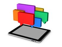 On line chat,mobile communication abstract concept. With tablet and conversation bubbles stock illustration