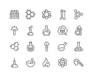 Line Chemical Icons Royalty Free Stock Photo