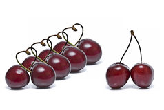 A line of cherry hearts. Stock Photo