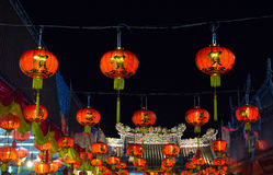 Line of chinese lanterns hanging for new year festival Stock Photography