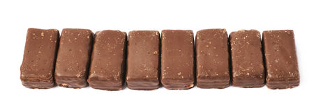 Line of chocolate waffle candies Royalty Free Stock Photo