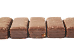 Line of chocolate waffle candies Royalty Free Stock Photography