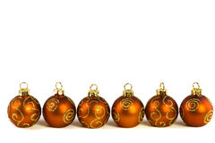 Line of Christmas baubles Royalty Free Stock Images