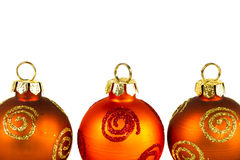 Line of Christmas baubles over white Stock Photo