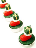 Line of Christmas decoration candles Royalty Free Stock Photo