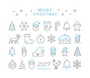 Line  Christmas icon set. Linear collection Stock Photography