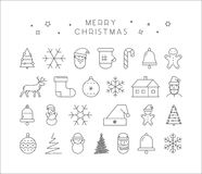 Line  Christmas icon set. Linear collection Royalty Free Stock Images