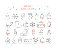 Line  Christmas icon set. Linear collection Royalty Free Stock Photography