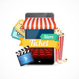 On-line Cinema Concept. Vector Royalty Free Stock Photo