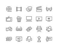 Line Cinema Icons. Simple Set of Cinema Related Vector Line Icons. Contains such Icons as Movie Theater, TV, Popcorn, Video Clip and more. Editable Stroke. 48x48 Stock Photography