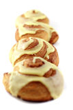 Line of Cinnamon Rolls Royalty Free Stock Photography