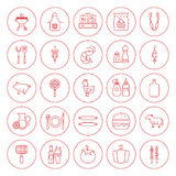Line Circle BBQ Icons Set Stock Photo