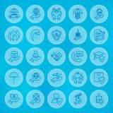Line Circle Business Insurance Icons Set Royalty Free Stock Images