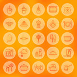 Line Circle Cooking Food and Utensil Icons Set Royalty Free Stock Photos