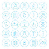 Line Circle Health Care Medical Icons Set Stock Photography