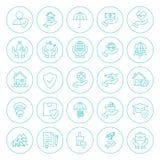 Line Circle Insurance Icons Set Stock Photos