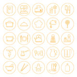Line Circle Kitchenware and Cooking Icons Set Royalty Free Stock Images
