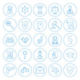Line Circle Law and Crime Icons Set Royalty Free Stock Photography