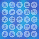 Line Circle Law and Justice Icons Set Stock Images