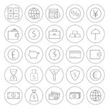 Line Circle Money Finance Banking Icons Set. Line Circle Money Finance Banking Icons. Vector Set of Line Art Modern Icons for Web and Mobile. Bank and Banking Stock Photo