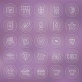Line Circle Shop Market E-commerce Icons Set Stock Photo