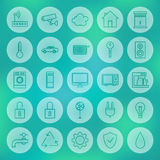 Line Circle Smart House Icons Set Royalty Free Stock Photos