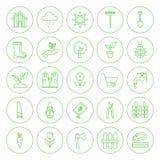 Line Circle Spring Gardening Tools Icons Set Royalty Free Stock Images