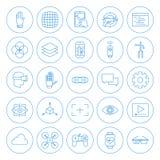 Line Circle Virtual Reality Icons Set Royalty Free Stock Photography