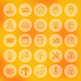 Line Circle Web Building and Construction Icons Set Stock Image