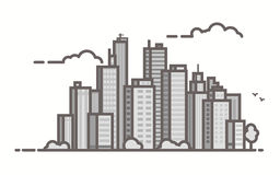 Line city scene. Big city skyline scene. Line outline vector illustration. Skyscrapers and business city center. Clouds and birds. Trendy linear style Royalty Free Stock Photo