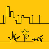 Line city scene and Yellow floral background Royalty Free Stock Photo