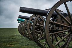 A line of 4 civil war cannons royalty free stock image