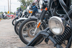 Line of Classic Cafe Racer Motorcycles royalty free stock photos