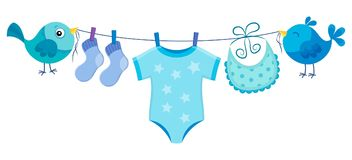 Line with clothing for baby boy Stock Photos