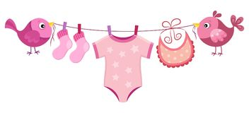 Line with clothing for baby girl Stock Image