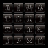 Line Clothing and Dress Icons Royalty Free Stock Photography