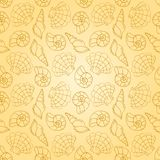 Line cockleshells seamless pattern Royalty Free Stock Photos