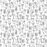 Line cocktails seamless pattern Stock Images
