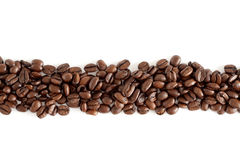 Line of coffee beans Stock Photos
