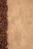 Line of coffee beans and burlap. Preparation for a coffee menu is made from coffee beans, line and burlap Royalty Free Stock Photography