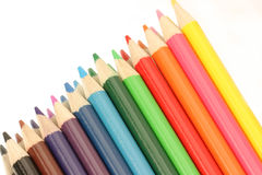 Line of color. Colored pencils in a line Royalty Free Stock Photo