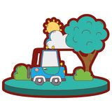 Line color agrimotor car in the city with tree and sun. Vector illustration Royalty Free Stock Photography